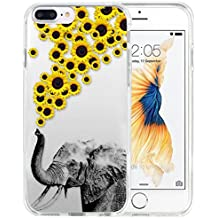 iPhone 8 Plus Case Apple 7 Plus Case TPU Non-Slip High Definition Printing Personalized Elephants and chrysanthemums