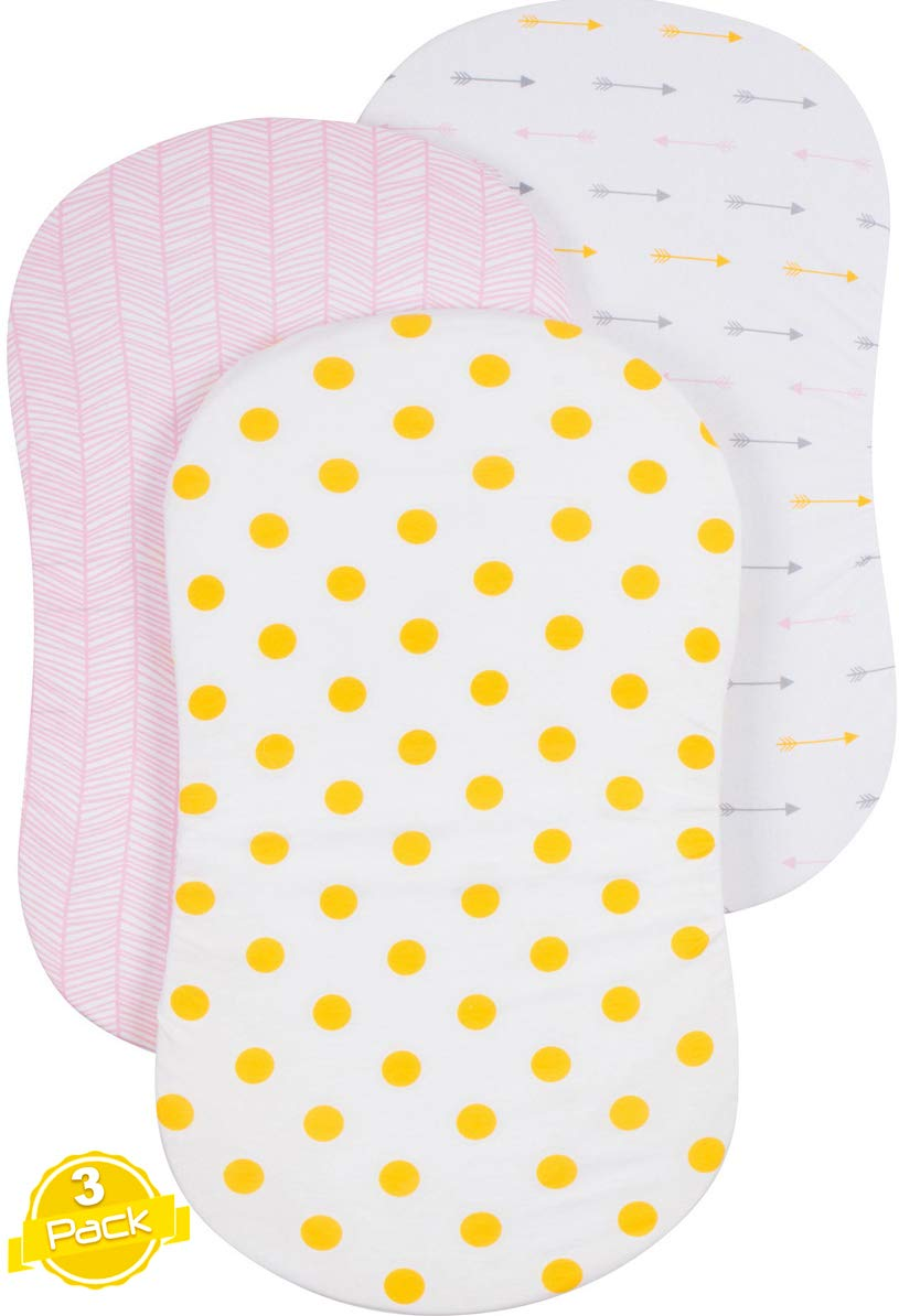 Bassinet Sheet Set | Cradle Fitted Sheets for Bassinet Mattress/Pads | Super Soft Jersey Knit Cotton | 3 Pack | 150 GSM |''Gold Dots'' Collection by BaeBae Goods by BaeBae Goods
