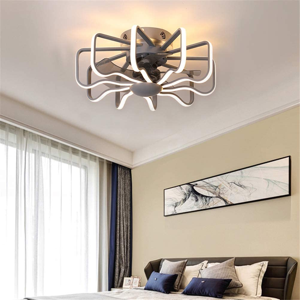 GUSICA Quiet Ceiling Fan with Lighting, 112W LED Ceiling Light Dimmable with Remote Control, 3 Speed, Modern Creative Living Room Bedroom Fan Lamp, Ø 58cm,Gold Gray