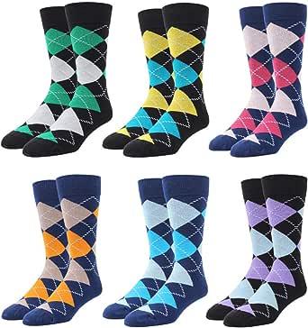 RioRiva Calcetines para hombre con pedrería en 90% algodón, bonito diseño en la pantorrilla, estilo colorido