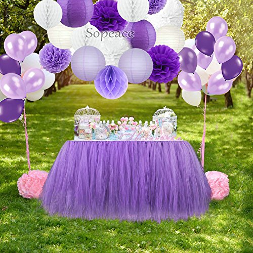 Sopeace Party Decoration Kit Purple White Tissue Paper Pom Poms Flowers Papers Lanterns Paper ball and Latex Balloons Birthday Wedding Christening Frozen Theme Party Decorations for Adults Boys Girls]()