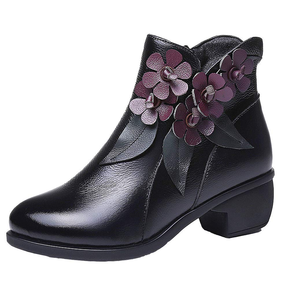 JJHAEVDY Women's Western Floral Round Toe Slip on Bootie - Low Heel - Zip Up - Casual Ankle Boot Waterproof Western Boots by JJHAEVDY