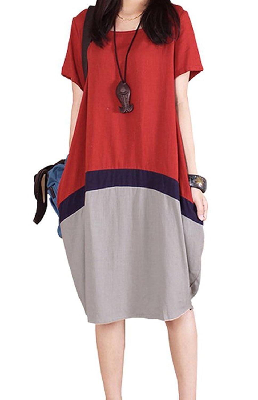 BININBOX® Damen Leinen Sommerkleid Kurzarm Rundhals Leinenkleid Seitentaschen T-shirt Kleid bequeme Sommerkleid (3 Farben)