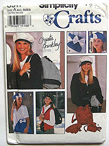 Simplicity 8911 Sewing Pattern ~ Christie Brinkley Collection Beret Hat, Backpack, Shoulder Bag, Belt Bag and Misses' Belt in 3 Sizes