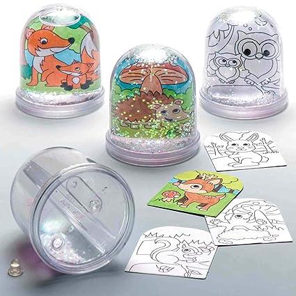 Amazon Com Baker Ross Woodland Animal Colour In Snow Globes Box