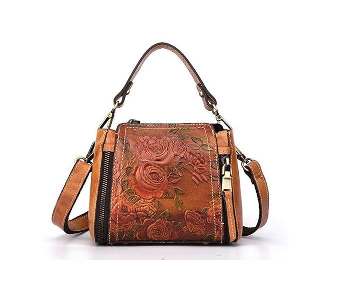 Brenice New Retro Genuine Leather Bucket Ladies Handbag Hand Embossed Craft  Flower Crossbody bag  Handbags  Amazon.com e5d454abe2b3d