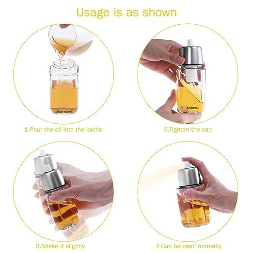 BESTONZON Pulverizador de botella y aceite de botella de aceite - Botella de aceite de pulverización portátil de barbacoa y herramientas de barbacoa de ...