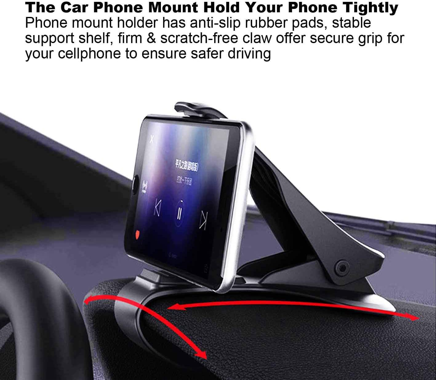 CaseHQ Car Phone Mount,One Hand Operation Car Phone Clamp,Dashboard Clip Mount Stand Suitable for 4 to 7 inch Compatible with iPhone 11 pro Max X Xs XR 8 7 6s Plus SE Galaxy S7,8,9,10 Black