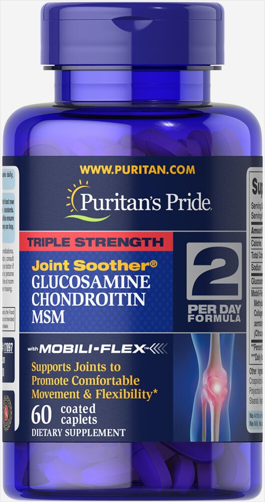Puritans Pride Triple Strength Glucosamine, Chondroitin & Msm Joint Soother, 60 Count