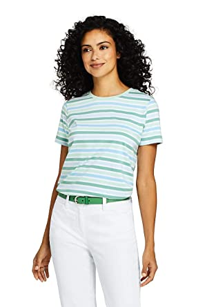 2d6f09700c3c Lands' End Women's Stripe Relaxed Short Sleeve Supima Cotton Crewneck T- Shirt at Amazon Women's Clothing store: