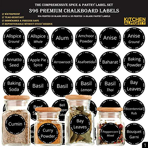 - 396 Printed Spice Jars Labels and Pantry Stickers: Chalkboard Round Spices Label 1.5