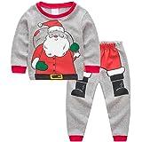Miyanuby Pijamas Bebe, 2PCS Bebés Niño Niñas Pijamas Navideños de Algodón Camiseta de Manga Larga de Papá Noel + Pantalones, 2-7 años Niños pequeños Ropa de Dormir/Camisones Ropa de casa