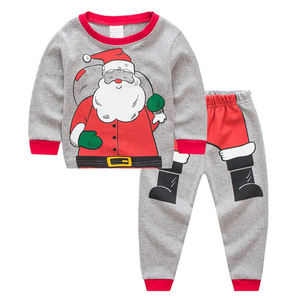 Miyanuby Pyjamas Sets, 2PCS Baby Boys Girls Cotton Christmas Pajamas Santa Claus Long Sleeve T Shirt + Pants Trousers, 2-7 Years Toddler Kids Sleepwear Nighties Homewear Clothes