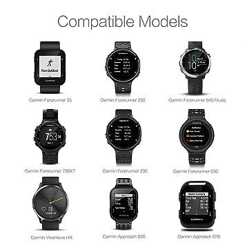 TUSITA [2-Pack] Cargador para Garmin Forerunner 35 230 235 630 645 Music 735XT,Approach G10 S20,Vivomove HR - USB Cable De Carga 100cm - GPS Relojes ...