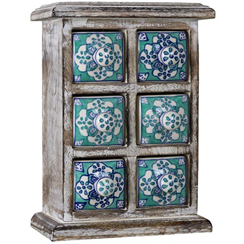 6 Drawer Ceramic Desktop Mini Chest of Drawers Jewellery Wood Wooden Blue-Green Cabinet - Ceramic Drawer