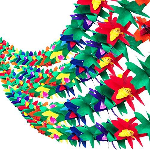 5 Pieces 9 Feet Long Tropical Paper Tissue Garland Flower Banner for Luau Hawaiian Party Supplies Beach Party (9' Party Banner)