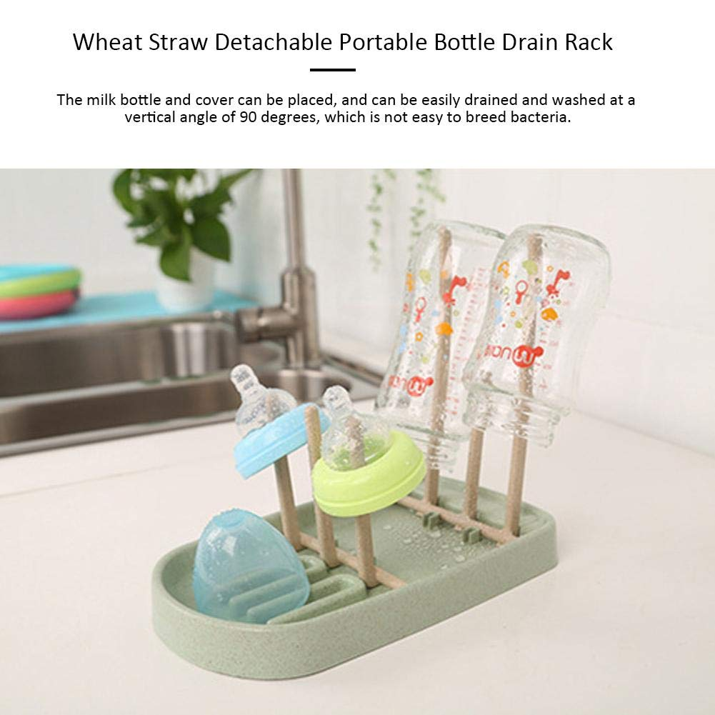 PER Foldable Baby Bottle Dryer Rack Wheat Straw Feeding Bottle Drying Rack For Drying Bottles /& Accessories-Blue