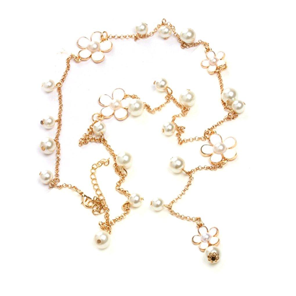 Collana lunga della lega della decorazione del pendente della catena della collana del maglione delle donne della perla del fiore 68cm Bobury