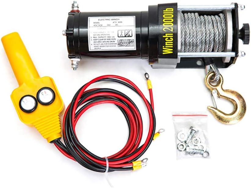 ANJING 12V/24V Cabrestante eléctrico,Polipasto eléctrico 2000lb Capacidad de Carga