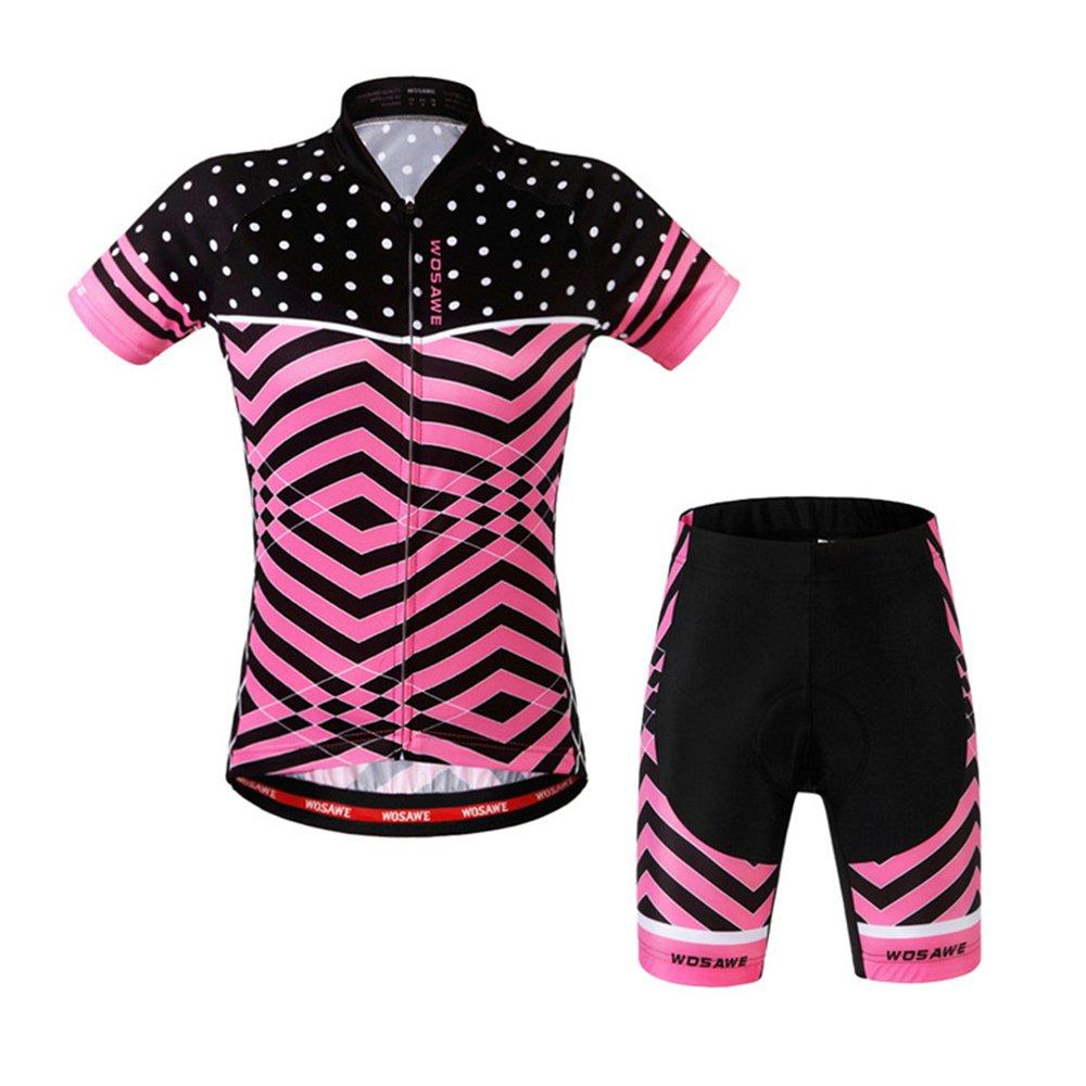 LSKCSH Ciclismo de Las Mujeres Transpirable Jerseys de Secado r/ápido Conjunto Ciclismo Jersey de Ciclo de Manga Corta Chaqueta 4D Amortiguador Acolchado Pantalones Cortos Apretados
