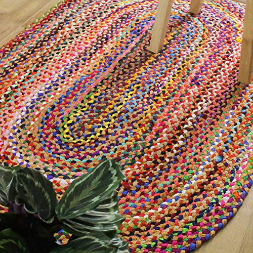 (Outlavish Braided Area Rug - Set Color Base + Multicolor, Handmade, Recycled Cotton (Oval 3 x 5 ft, Orange))