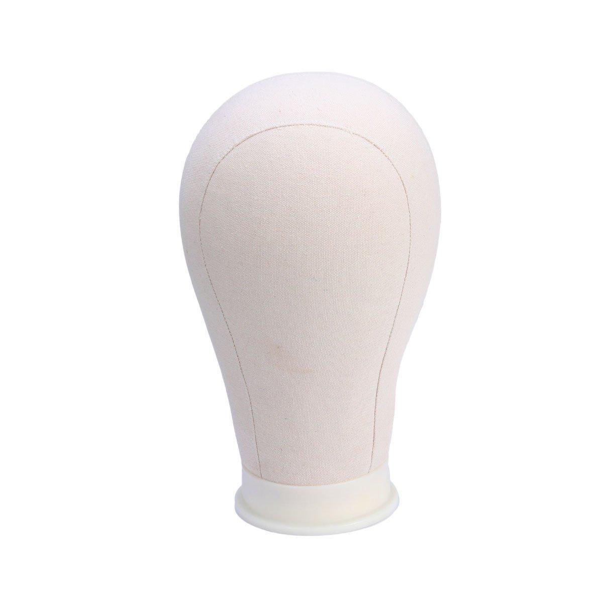 Frcolor tela Cork Block Head WIG display styling Mannequin Manikin Head WIG stand free Get T Needle Holder (55,9cm)