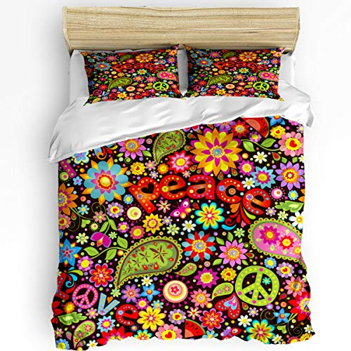 Hippie Symbol 3 Piece Bedding Set Comforter Cover Queen Size, Funny Hippie Peace Sign Paisley Flowers, 3 pcs Duvet Cover Set Bedspread Daybed with Zipper Closure for Childrens/Kids/Teens/Adults