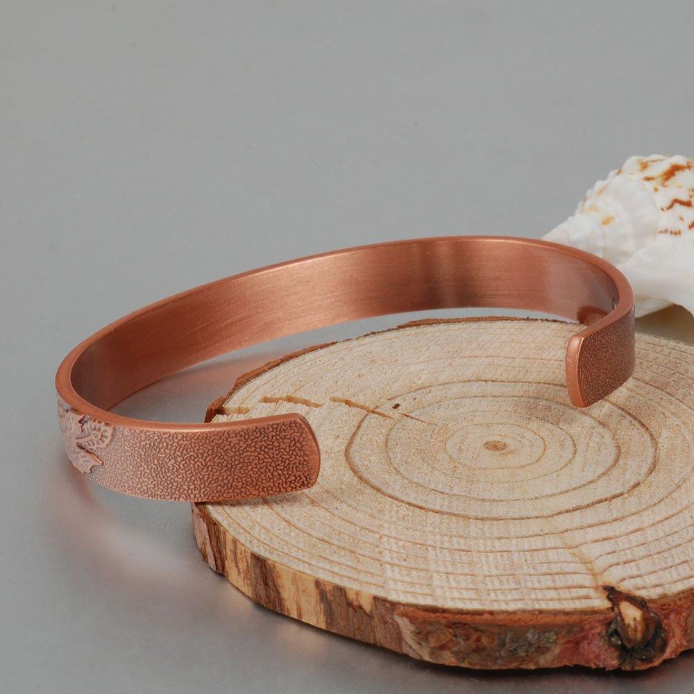 Brazalete magnético de cobre de Wollet (CPB-0036SGA), alivio de dolor, diseño de dragón, 6 imanes