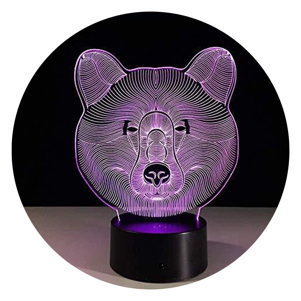 JINXUXIONGDI Visual Stereo Vision 3D Night Light Acrylic Bear Face Night Light Touch LED7 Color Change USB Lights for Baby Room Lights Children's Decoration