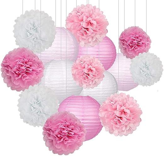 Juego de 15 piezas de decoración de fiesta - Pompones de ...