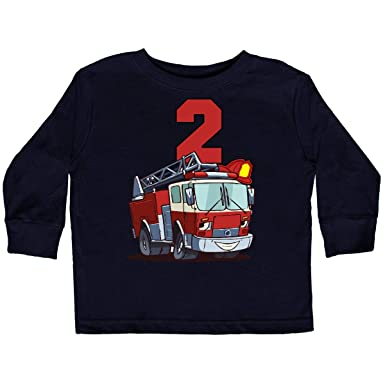 8e3dad2d2 Amazon.com: inktastic - 2nd Birthday Fire Truck Toddler Long Sleeve T-Shirt  2bd29: Clothing