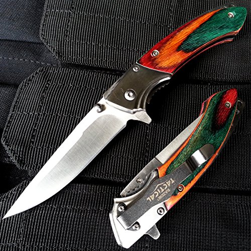 "8"" Tactical Spring Assisted Hunting Folding Wooden Handle Folding Knife w/ Pocket Clip 