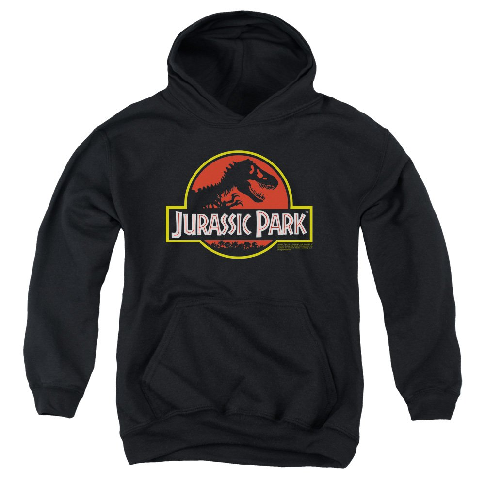 2Bhip Jurassic Park Dinosaur Thriller Movie Classic Logo Big Boys Pull-Over Hoodie Trevco