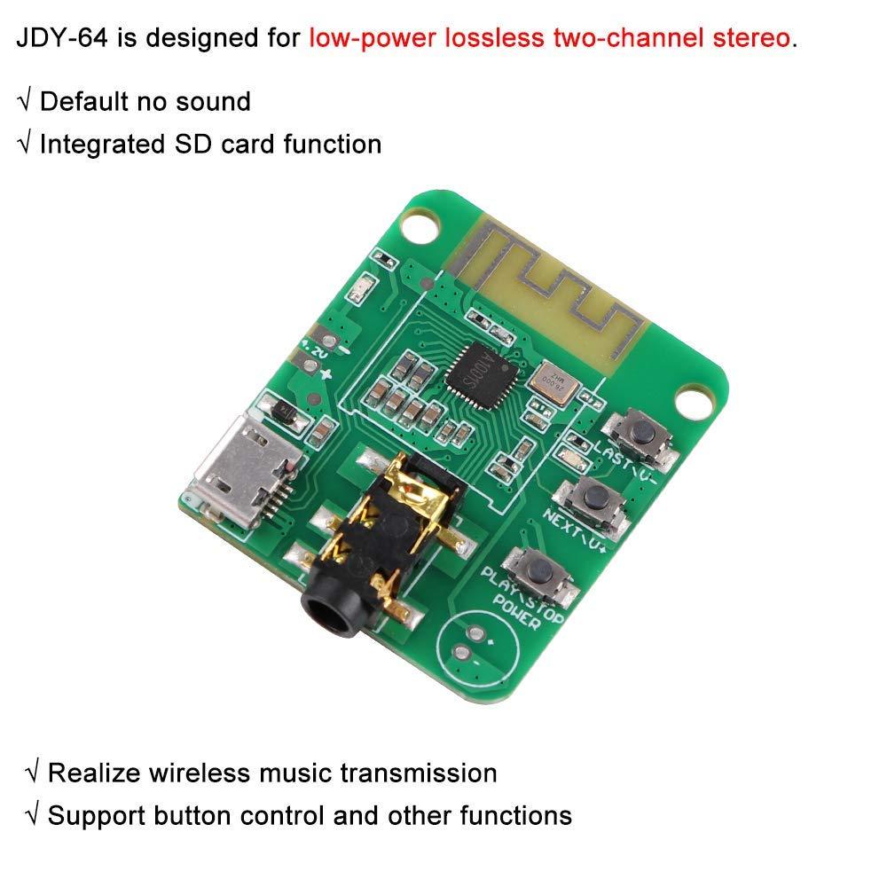 Makerhawk 2pcs Bluetooth-Audiomodul V4.2 JDY-64 Wireless-Modul /Übertragungsdistanz 15m Unterst/ützungstastensteuerung mit Bodenplatte HiFi-Audioempf/ängermodul Bluetooth-Verst/ärkerplatine