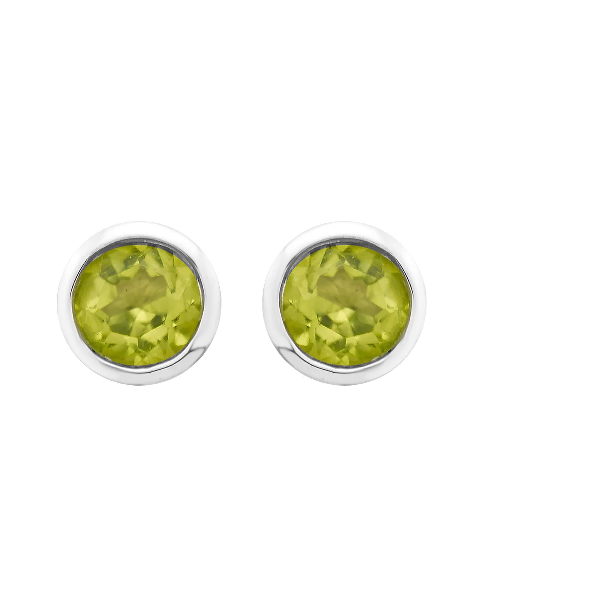 .925 Sterling Silver Peridot Gemstone Petite 4mm Bezel Cup Set Stud Earrings - August Birthstone