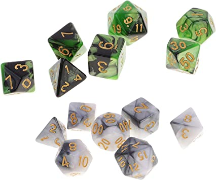 P Prettyia 14x Juego De Dados D20 D12 D10 D8 D6 D4 Mazmorras Y Dragones para Juegos De Mesa D&D RPG MTG Supplies: Amazon.es: Juguetes y juegos