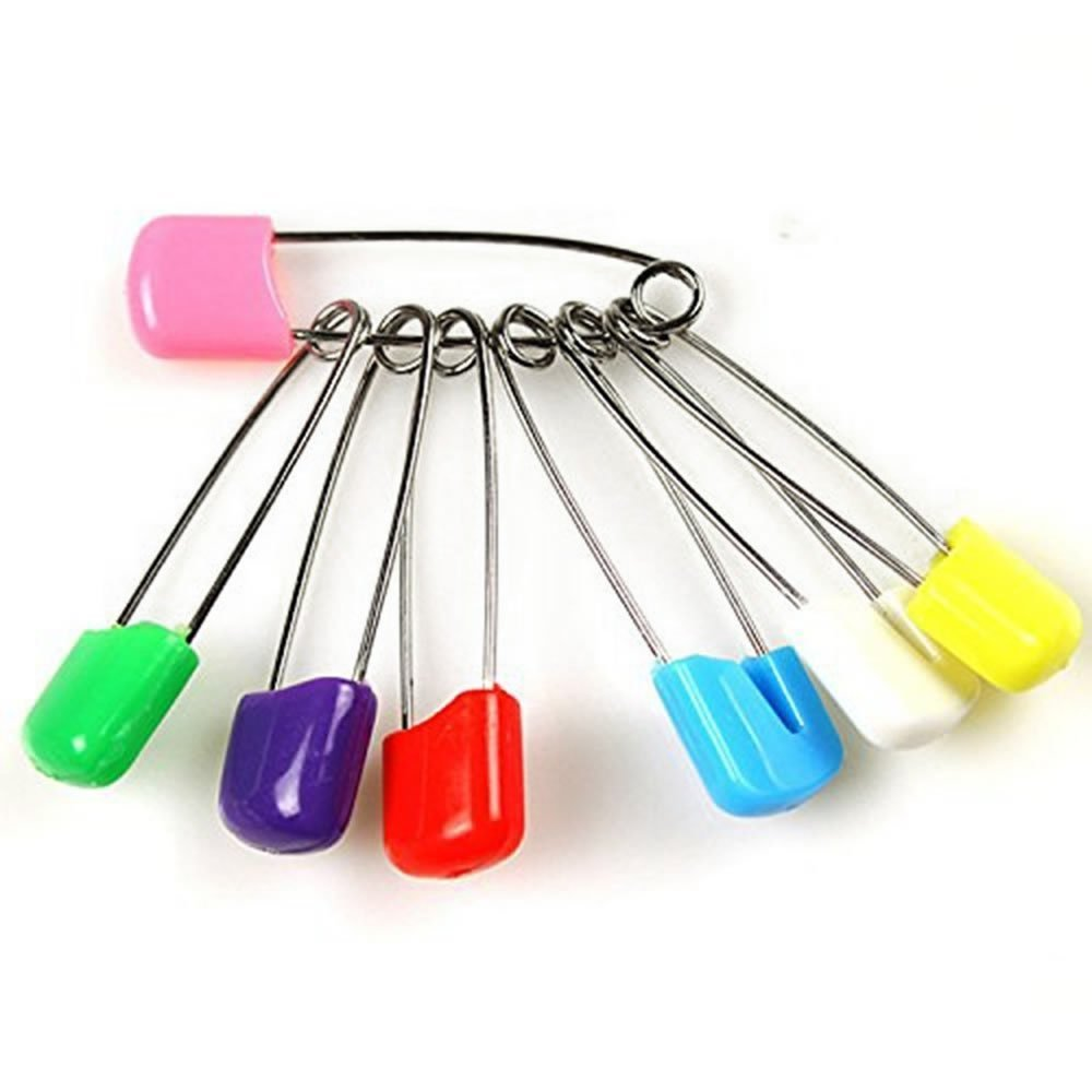 100 Pcs Diaper Pins - Sturdy, Stainless Steel Diaper Nappy Pins with Safe Locking Closures - Use for Special Events, Crafts or Colorful Laundry Pins SARANUS