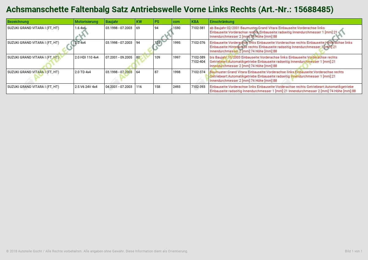 ACHSMANSCHETTE FALTENBALG SATZ ANTRIEBSWELLE VORNE LINKS RECHTS VON AUTOTEILE GOCHT