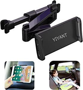 "Car Headrest Mount, Stretchable Car Backseat Seat Mount/Tablet Headrest Holder Universal 360° Rotating Adjustable for All 4""-10.6"" cellphones/Tablet Switch iPad iPad Air iPad Mini,Samsung Galaxy ect"