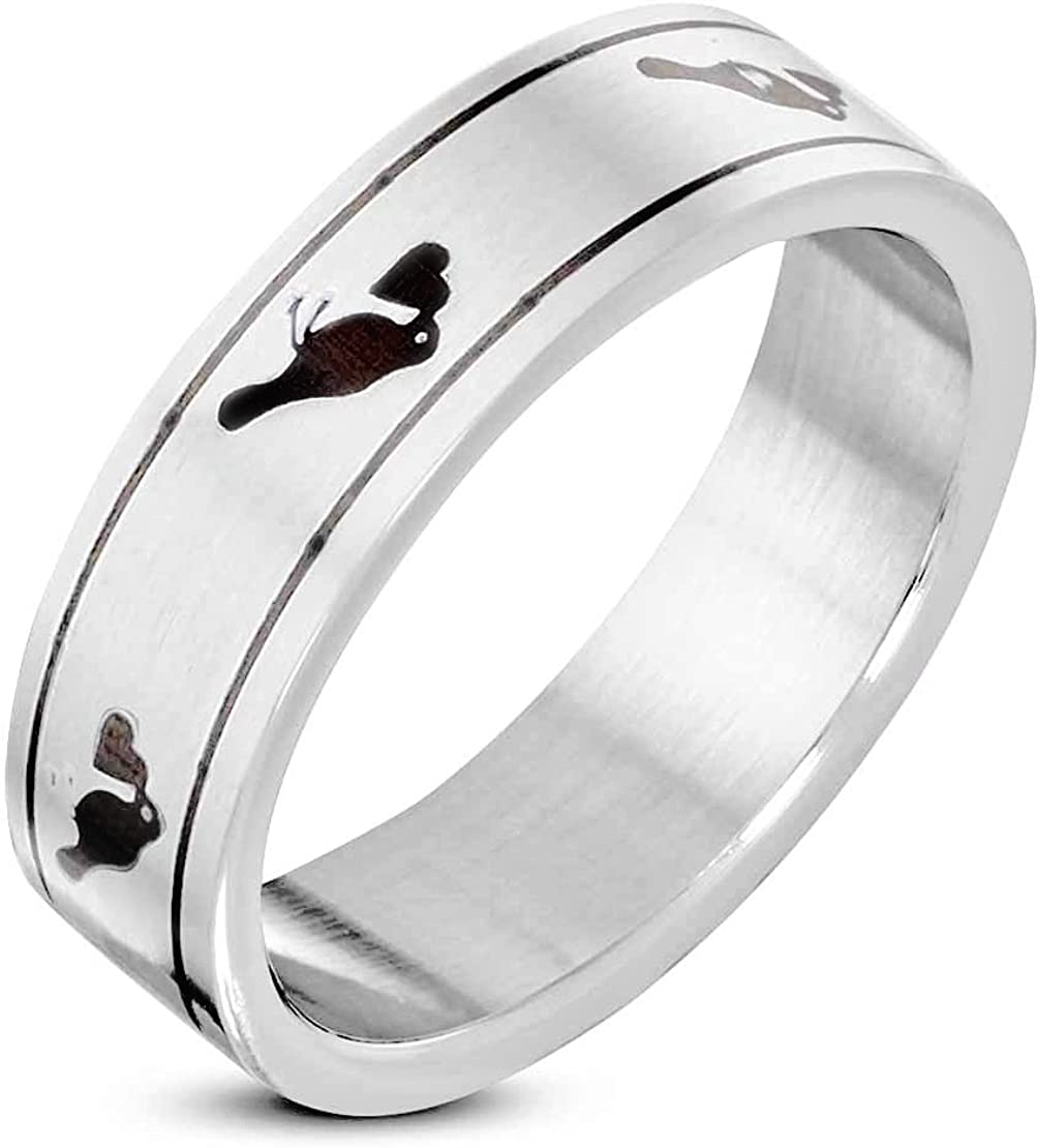 Stainless Steel Matte Finished 2 Color Heart Bird of Love Wedding Flat Band Ring