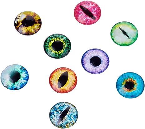 10PCs Eyes Mixed Glass Embellishments Cabochons Findings Phone Decor DIY 12mm