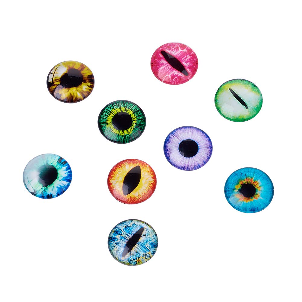Beadthoven 10pcs 20mm Mixed Style Dragon Eye Half Round Printed Glass Cabochons Jewelry Finding Cameo Pendant Settings 20x6mm Mixed Color