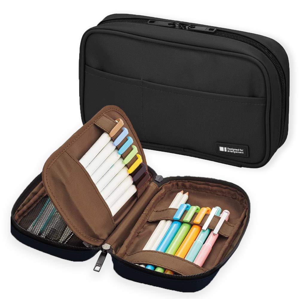 LIHIT LAB Zipper Pen Case, 7.9 × 2 × 4.7 Inches, Jet Black (A7551-124)