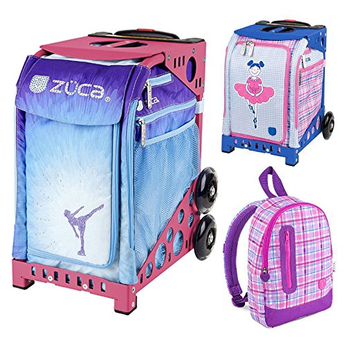 Zuca Ice Dreamz Insert Bag in Pink Frame (Full-Sized Sport) with Mini Ballerina Bag for Kids and Explorer Backpack by ZUCA