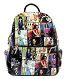 Glossy Magazine Cover Collage Motorcycle Jacket Fringe Backpack Michelle Obama Handbag (8-Multi/Black)