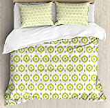Ikat Decor Duvet Cover Set by Ambesonne, Abstract Round Oriental Asian Ancient Traditional Exotic Islamic Ikat Patterns Home, 3 Piece Bedding Set with Pillow Shams, King Size, Green White Grey