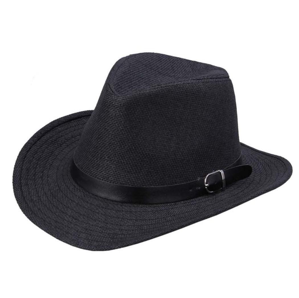 Susenstone Sombrero de vaquero de sombrero verano de paja para hombres (Color  café oscuro)  Amazon.es  Deportes y aire libre d4731a1c6f9