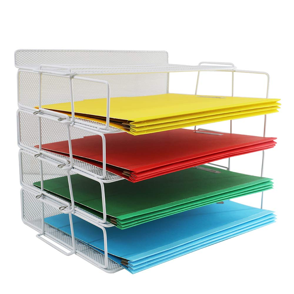 Blu Monaco Desk Organizers and Accessories Stackable Paper Tray 4 Tier Stackable Letter Trays Black Metal Mesh File Holder Organizer