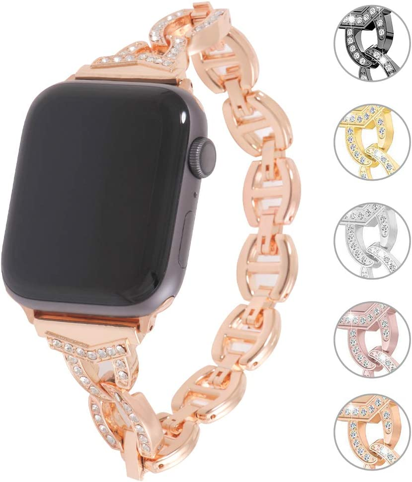 Miniseas Rhinestone Alloy Band Compatible with Apple Watch Band 38mm 40mm Wristband Women Replacement Wrist Strap Replacement Bracelet for iWatch Series 5/4/3/2/1 42mm 44mm (Rose Gold, 42MM-44MM)