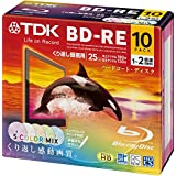 TDK Bluray Disc 25 gb BD-RE rewritable 2x Speed Colorful Printable HD discs 10 pack in Jewel cases (japan import)